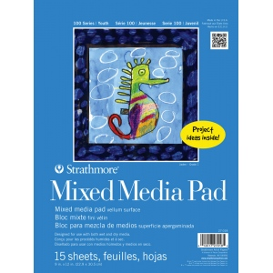 """Strathmore® 100 Series 9"""" x 12"""" Tape Bound Mix Media Pad; Binding: Tape Bound; Color: White/Ivory; Format: Pad; Quantity: 15 Sheets; Size: 9"""" x 12""""; Type: Mix Media; (model ST27-018), price per 15 Sheets pad"""