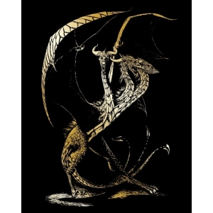 "Royal & Langnickel® Engraving Art Set Gold 3 Headed Dragon; Board Size: 8"" x 10""; Color: Metallic; (model GOLF26), price per set"
