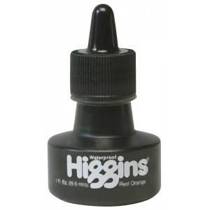 Higgins® Waterproof Color Drawing Ink Red Orange; Color: Orange, Red/Pink; Format: Bottle; Ink Type: Dye-Based; Size: 1 oz; Waterproof: Yes; (model SN44207), price per each