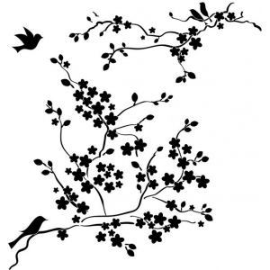"""The Crafter's Workshop 12"""" x 12"""" Design Template Cherry Blossoms: 12"""" x 12"""", Patterned Stencil, (model TCW177), price per each"""