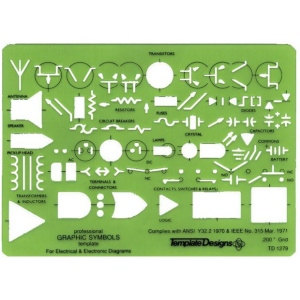 "Alvin® Electric/Electronic Template; Scale: .200""; Size: 5"" x 7"" x .030""; Type: General Purpose; (model TD1279), price per each"