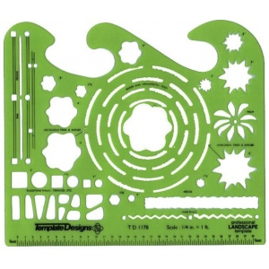 "Alvin® Landscape Design Template: 1/4"" = 1', (model TD1178), price per each"