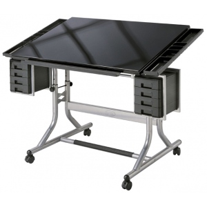 "Alvin® CraftMaster™ II Deluxe Art & Drawing Glass Top Table; Angle Adjustment Range: 0 - 30; Base Color: Black/Gray; Base Material: Steel; Height Range: 27 3/4"" - 32 1/4""; Top Color: Black/Gray; Top Material: Glass; Top Size: 28"" x 40""; (model CM48GL), price per each"