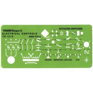 "Rapidesign® Electrical Controls Template; Size: 3 1/4"" x 8"" x .030""; Type: Electric/Electronic; (model 312R), price per each"