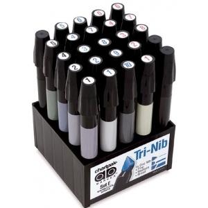 Chartpak® AD™ Marker 25-Color Warm/Cool Gray Set; Color: Black/Gray; Ink Type: Xylene-Based; Tip Type: Fine Nib; (model SETE), price per set