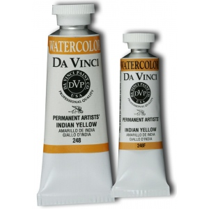Da Vinci Artists' Watercolor Paint 15ml Indian Yellow: Yellow, Tube, 15 ml, Watercolor, (model DAV248F), price per tube