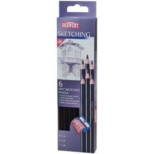 Derwent Sketching 6-Pencil Tin Set: Black/Gray, Drawing, (model 0700836), price per set