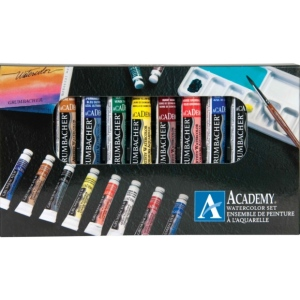 Grumbacher® Academy® Watercolor Paint 10-Color Set; Color: Multi; Format: Tube; Size: 7.5 ml; Type: Watercolor; (model GBA2010SET), price per set
