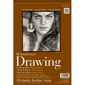 """Strathmore® 400 Series 9"""" x 12"""" Medium Surface Wire Bound Drawing Pad; Binding: Wire Bound; Color: White/Ivory; Format: Pad; Quantity: 24 Sheets; Size: 9"""" x 12""""; Texture: Medium; Weight: 80 lb; (model ST400-4), price per 24 Sheets pad"""