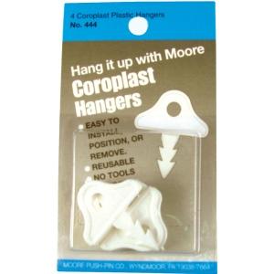 Moore Plastic Hanger; Color: White/Ivory; Material: Plastic; (model M444), price per pack