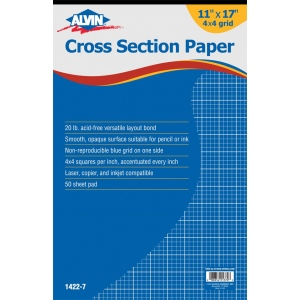 "Alvin® Cross Section Paper 4"" x 4"" Grid 50-Sheet Pad 11"" x 17""; Format: Pad; Grid Size/Pattern: 4"" x 4""; Quantity: 50 Sheets; Size: 11"" x 17""; Type: Drawing; Weight: 20 lb; (model 1422-7), price per 50 Sheets pad"