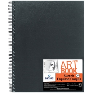 "Canson® ArtBook™ Artist Series 11"" x 14"" Wirebound Sketchbook: Wire Bound, White/Ivory, Book, Black/Gray, 80 Sheets, 11"" x 14"", Sketching, 65 lb, (model C100510432), price per each"
