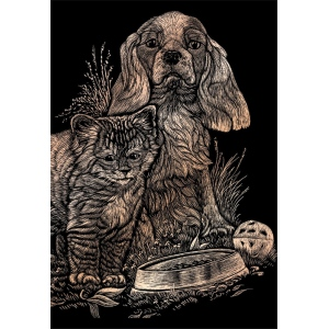 "Royal & Langnickel® Engraving Art Set Copper Foil Kitten & Puppy; Board Size: 8"" x 10""; Color: Metallic; (model COPF14), price per set"