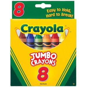 Crayola® Jumbo Crayon 8-Color Set; Color: Multi; Format: Stick; (model 52-0389), price per pack