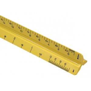 "Alvin® 110 Series 12"" High Impact Plastic Mechanical Drafting Triangular Scale Yellow; Color: Yellow; Material: Plastic; Size: 12""; Type: Scale; (model 110PXY), price per each"