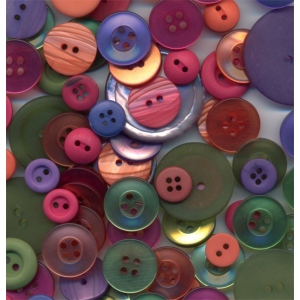 "Buttons Galore & More Button Bonanza Grab Bag Sherbet; Color: Multi; Material: Plastic; Shape: Round; Size: 3/8"" - 1""; (model BB53), price per each"