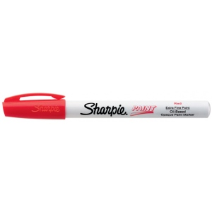 Sharpie® Oil Paint Marker Extra Fine Red; Color: Red/Pink; Ink Type: Paint; Tip Type: Fine Nib; (model SN35527), price per each