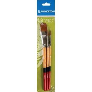 Princeton™ Snap! Golden Taklon Brush Set Round 4 and 6 Stroke 3/4; Shape: Filbert, Round, Stroke; Type: Acrylic, Watercolor; (model 9650SET-2), price per set