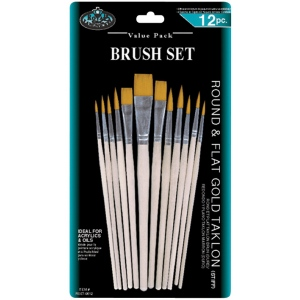 Royal & Langnickel® Gold Taklon Round & Flat Brush Set; Length: Multi; Material: Gold Taklon; Shape: Multi; Type: Multi; (model RSET-9612), price per set
