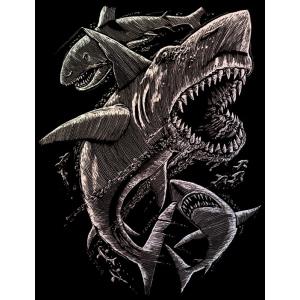"Royal & Langnickel® Engraving Art Set Holographic Foil Sharks: 8"" x 10"", Metallic, (model HOLO15), price per set"