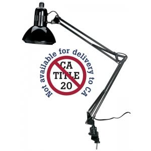 "Alvin® Swing-Arm Lamp Black: Black/Gray, Under 10"", Swing-Arm, 76-100w, (model G2540-B), price per each"