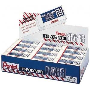 Pentel® Hi-Polymer® Hi-Polymer Eraser Display; Material: Plastic; Type: Manual; (model ZEH10D), price per box