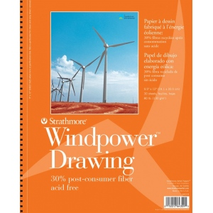"Strathmore® Windpower™ 9"" x 12"" Medium Surface Wire Bound Drawing Pad; Binding: Wire Bound; Color: White/Ivory; Format: Pad; Quantity: 30 Sheets; Size: 9"" x 12""; Texture: Medium; Weight: 80 lb; (model ST643-9), price per 30 Sheets pad"