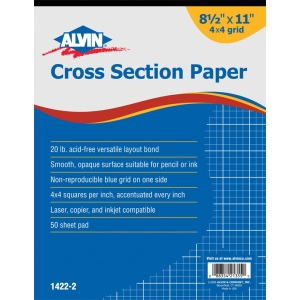 "Alvin® Cross Section Paper 4"" x 4"" Grid 50-Sheet Pad 8 1/2"" x 11"": Pad, 4"" x 4"", 50 Sheets, 8 1/2"" x 11"", Drawing, 20 lb, (model 1422-2), price per 50 Sheets pad"
