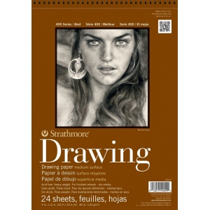 "Strathmore® 400 Series 8"" x 10"" Medium Surface Wire Bound Drawing Pad; Binding: Wire Bound; Color: White/Ivory; Format: Pad; Quantity: 24 Sheets; Size: 8"" x 10""; Texture: Medium; Weight: 80 lb; (model ST400-3), price per 24 Sheets pad"