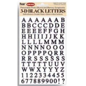 "Pioneer® Letter Stickers Black: Black/Gray, 1/4"" - 3/8"", Flat, (model 3DLB), price per pack"