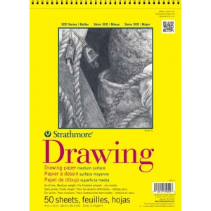 "Strathmore 300 Series Drawing Paper: 14"" x 17"", Wire Bound, Micro-Perforated, Pad of 25 Sheets"