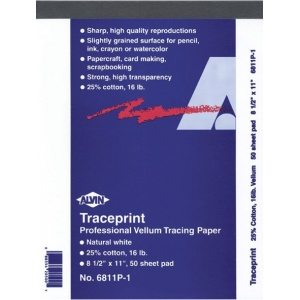"Alvin® Traceprint Tracing Paper 50-Sheet Pad 18"" x 24""; Binding: Fold Over; Color: White/Ivory; Format: Pad; Quantity: 50 Sheets; Size: 18"" x 24""; Type: Tracing; Weight: 17 lb; (model 6811P-6), price per 50 Sheets pad"