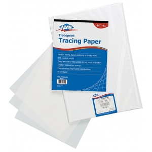 "Alvin® Traceprint Tracing Paper 100-Sheet Pad 8-1/2"" x 11"": Fold Over, White/Ivory, Pad, 100 Sheets, 8 1/2"" x 11"", Tracing, 17 lb, (model 6811-S-1), price per 100 Sheets"