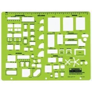 "Rapidesign® Interior Design – Kitchen Bathroom & Bedroom Template: 1/4"" = 1', (model 716R), price per each"