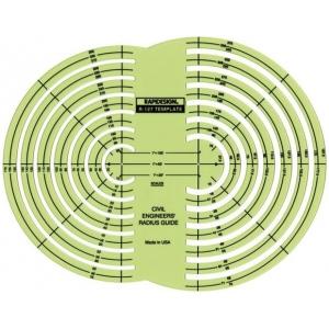 "Rapidesign® Civil Engineer Radius Guide Template: 1"" = 100', 1"" = 50, 1""= 20', (model 127R), price per each"