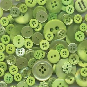 "Buttons Galore & More Button Bonanza Grab Bag Spring Green; Color: Green; Material: Plastic; Shape: Round; Size: 3/8"" - 1""; (model BB56), price per each"