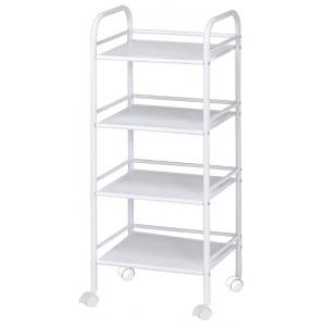 "Blue Hills Studio™ Storage Cart 4-Shelf White: White/Ivory, Plastic, 4-Shelf, 12""d x 14 1/2""w x 29 3/4""h, (model SH4WH), price per each"