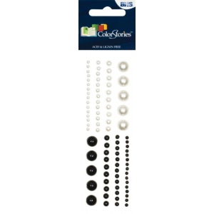 "Blue Hills Studio™ ColorStories™ Adhesive Pearls White; Color: White/Ivory; Material: Pearl; Size: 2"" x 5 3/4""; Type: Dimensional; (model BHS10703), price per each"