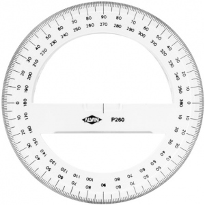 "Alvin® 8"" Circular Protractor; Color: Clear; Material: Plastic; Size: 8""; Type: Protractor; (model P263), price per each"
