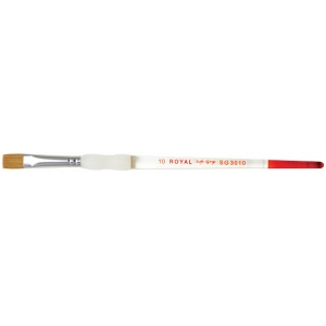 Royal & Langnickel® Soft Grip™ Combination Natural/Synthetic Bright Brush 10; Material: Natural Hair, Synthetic; Shape: Bright; Size: 10; Type: Acrylic, Oil, Watercolor; (model RSG3010-10), price per each