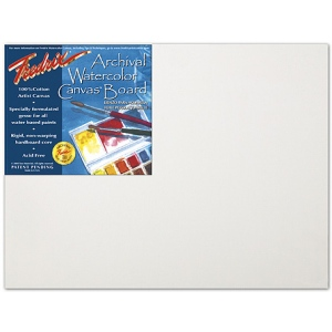 "Fredrix® Artist Series 11 x 14 Archival Watercolor Canvas Board: White/Ivory, Panel/Board, 11"" x 14"", Stretched, Watercolor, (model T3442), price per each"