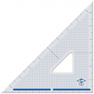 """Alvin® 10"""" Cutting Edge Triangle 45°/90°: 45/90, Clear, Acrylic, 10"""", Triangle, (model ACT450-10), price per each"""