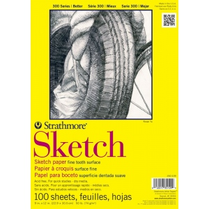 """Strathmore® 300 Series 14"""" x 17"""" Wire Bound Sketch Pad; Binding: Wire Bound; Color: White/Ivory; Format: Pad; Quantity: 100 Sheets; Size: 14"""" x 17""""; Weight: 50 lb; (model ST350-14), price per 100 Sheets pad"""