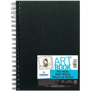 "Canson® ArtBook™ 7"" x 10"" Mix Media Wirebound Book; Binding: Wire Bound; Color: White/Ivory; Format: Book; Ink Color: Black/Gray; Quantity: 40 Sheets; Size: 7"" x 10""; Type: Mix Media; Weight: 138 lb; (model C100516109), price per each"