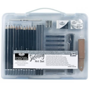 Royal & Langnickel® Sketching Clear View Small Art Case Set; Color: Black/Gray; Type: Drawing; (model RSET-ART3105), price per set