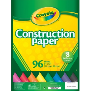 "Crayola® 9"" x 12"" Construction Paper Pack 96 Sheets: Multi, Sheet, 96 Sheets, 9"" x 12"", (model 99-3000), price per 96 Sheets"