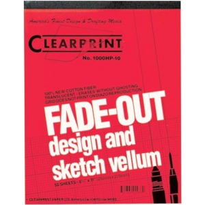 "Clearprint® 1000HP Series 8.5 x 11 Vellum Design and Sketch 50-Sheet Pad 10x10 Grid; Format: Pad; Grid Size/Pattern: 10"" x 10""; Quantity: 50 Sheets; Size: 8 1/2"" x 11""; Weight: 16 lb; (model CP10003410), price per 50 Sheets pad"