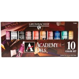 Grumbacher® Academy® Oil Paint 10-Color Set; Color: Multi; Format: Tube; Size: 24 ml; Type: Oil; (model GBT1030SET), price per set