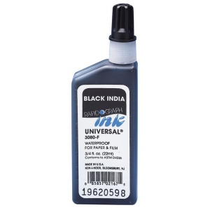 Koh-I-Noor® Universal® 3/4oz Drawing Ink Black: Black/Gray, Bottle, India, .75 oz, Waterproof, (model 3080F-BLA), price per each