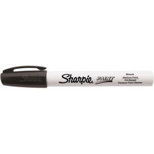 Sharpie® Oil Paint Marker Medium Black: Black/Gray, Paint, Medium Nib, (model SN35549), price per each